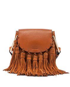 Hudson Fringe-Trim Leather Shoulder Bag, Gray - Chloe | Leather ...