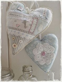 Example of decorations valentine sweet heart templates 6 Lace Heart, Heart Art, Sewing Crafts, Sewing Projects, Shabby Chic Hearts, Fabric Hearts, Heart Template, Lavender Bags, Heart Crafts