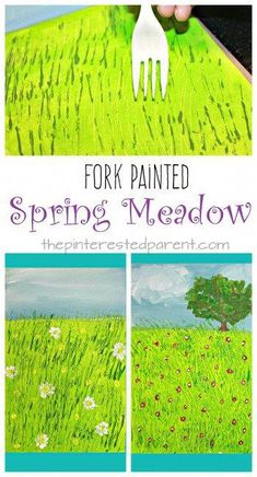Fork Painted Spring Meadow – kids art projects for the spring. Fun arts and craft and painting technique Fork Painted Spring Meadow – kids art projects for the spring. Fun arts and craft and painting technique Spring Art Projects, Spring Crafts For Kids, Art For Kids, Kids Fun, Kids Art Class, Art Crafts For Kids, Art And Craft, Art Children, Fun Arts And Crafts
