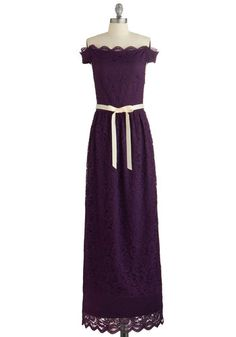 All the Acclaim Dress - Purple, Solid, Lace, Special Occasion, Prom, Wedding, Bridesmaid, Maxi, Strapless, Woven, Lace, Better, Belted, Off the Shoulder