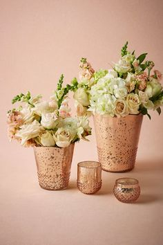 "Centerpieces?  Medium: 5.25""H, 4.5""W $12 Large: 7.5""H, 6""W $16 Mercury glass Imported  bhldn.com"