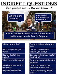 AskPaulEnglish: INDIRECT QUESTIONS #tefl #tesol #learnenglish #grammar