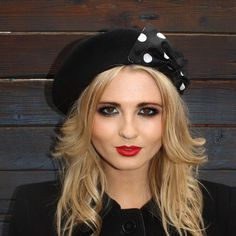 BERET BONANZA- Black Wool Beret with Black-White Polka Dot Silk Bow by Imogen's Imagination