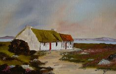 Donegal Cottage, Landscape Painting, Artist, West of Ireland, Irish Cottage, Old Cottage, Cottage Art, Paintings I Love, Paintings For Sale, Donegal Cottages, Elephant Applique, Irish Landscape, Cottages By The Sea