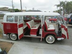 Red and White VW Bus 1966 Barn Door