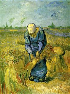 Peasant Woman Binding Sheaves (after Millet) - Vincent van Gogh - Painted in Sept 1889 while in the Saint-Rémy Asylum - Current location: Van Gogh Museum, Amsterdam, Netherlands ---once saw this!!