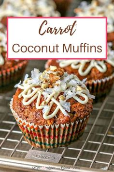Moist and delicious, these whole grain Carrot Coconut Muffins drizzled with a honey cream cheese glaze are perfect for a special Sunday brunch or even as dessert. Sort of a cross between carrot cake and a morning glory muffin, these carrot muffins are bursting with carrots, coconut, pineapple, pecans, and dried cranberries. Healthy Muffin Recipes, Easy Cookie Recipes, Baking Recipes, Cake Recipes, Dessert Recipes, Baking Ideas, Coconut Muffins, Carrot Muffins, Carrot Cake