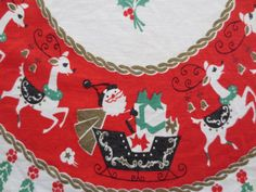 Vintage Christmas Runner, Midcentury Runner, Santa and Reindeer, Eda Maria, Christmas Decor, Holiday Decor, Red Runner, Mid Century Graphics