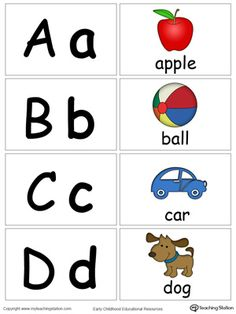 **FREE**Small Alphabet Flash Cards for Letters A B C D. Learn the alphabet and the sound of the letters with these small picture alphabet flash cards. Help your preschooler identify the sound of the letter by looking at the pictures. Alphabet Flash Cards Printable, Phonics Flashcards, Alphabet Phonics, Alphabet Cards, Preschool Letters, Printable Flashcards, Abc Flash Cards, Learning The Alphabet, Small Alphabet Letters