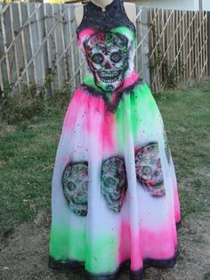 Items similar to Black, pink, and green skeleton day of the dead halloween costume undead bride labeled size 6 fits sheer small sugar skull on Etsy Festival Of The Dead, Halloween Ideas, Halloween Costumes, Day Of The Dead, Sugar Skull, Skulls, Skeleton, Pink And Green, Halloween Face Makeup