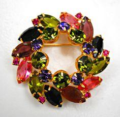 Vintage Juliana Colorful Rhinestone Wreath by serendipitytreasure