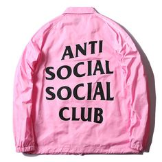 Men fashion anti social social club bomber jacket pink kanye west windbreaker women harajuku hip hop
