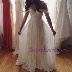 Prom dress 2016, elegant off-shoulder long prom dress, white chiffon a-line evening dress fo teens #coniefox #2016prom