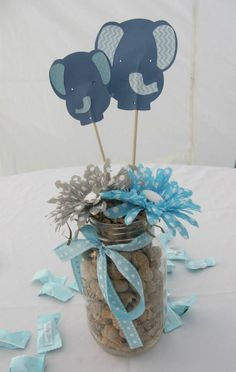 Jaylies Baby Shower centerpieces . Baby Shower Elephants centerpiece Blue Boys
