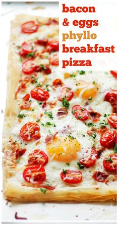 Bacon and Eggs Phyllo Breakfast Pizza - Crispy bacon, eggs and cherry tomatoes settled on top of phyllo sheets smothered with a seasoned feta cheese spread. Phyllo Dough Recipes, Puff Pastry Recipes, Pizza Recipes, Brunch Recipes, Breakfast Recipes, Cooking Recipes, Healthy Recipes, Puff Pastries, Brunch Menu