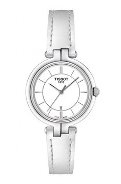 Tissot Flamingo Women's Quartz White Dial with White Leather Strap Daniel Wellington, Bering, Bracelets Fins, Junghans, 316l Stainless Steel, Beautiful Watches, Contemporary Jewellery, Out Of Style, Seiko