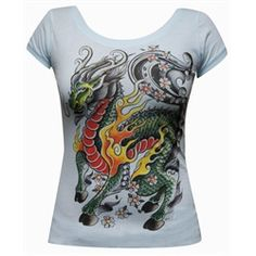 My Little Dragon by Joe Kowalski Scoop Neck T Shirt Tattoo Light Blue.  Preshrunk light blue scoop neck tee. Premium 100% cotton fabric with a soft design touch and quality printing techniques. We love our art, and want it to last! Clothing made in the USA. Rock T Shirts, Cool Shirts, Tattoo T Shirts, Tattoos, Tattoo Clothing, Little Dragon, Red And Grey, Retro Fashion, Cool Outfits
