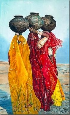 Asia | Portrait of three women carrying a bowl on their head, Enlasdunasde Kur…