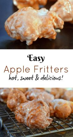 delicious fritters apple sweet easy hot Easy Apple Fritters Hot sweet deliciousYou can find Apple recipes and more on our website Apple Fritter Recipes, Apple Fritter Bread, Apple Bread, Apple Pies, Apple Cake, Apple Cinnamon Bread, Pecan Pies, Recipe Fritter, Cinnamon Oatmeal