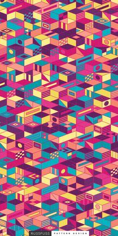 'LevelUp' Seamless Pattern by Russfuss #patterndesign #surfacepattern #fabricdesign #textiledesign #patternprint #geometry #iphonewallpaper #generative #padrões #cadernos #geometria #diseño