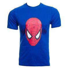Marvel Comics Spiderman Head T Shirt (Blue)
