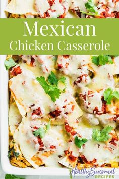 Mexican Casserole is like a cross between Chilaquiles and Mexican Lasagna with layers of shredded chicken, crispy baked tortillas, cheese and tomato sauce with spices! It's great for meal prep too! #casserole #mealprep #mexican Chicken Chilaquiles, Chilaquiles Recipe, Mexican Chicken Casserole, Mexican Lasagna, Healthy Chicken Recipes, Vegetarian Recipes, Bbq Beef Sandwiches, Traditional Mexican Food, Baked Corn