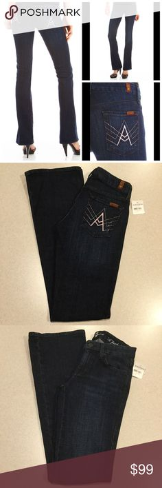 """7 For All Mankind Jeans 25X34 A Pocket Vista NWT! 7 for all mankind jeans A pocket flare Vista del mar wash NEW WITH TAGS! Size 25 34 inch long unaltered inseam 14"""" across waist Beautiful vibrant blue stretch denim Pale pink stitched A pockets with pink Swarovski crystals! Super hard to find wash and A pocket color combination, if you love dojos you might love these too! They fit amazing! Sold for $198.00 Style# ju130y708c  All of my items come from a smoke free, pet free home and are…"""