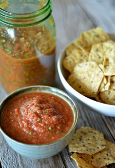 Easy Blender Salsa is the most popular recipe on my site and this Roasted Garlic version is awesome! It's a family favorite and a recipe I make over and over!!   mountainmamacooks.com