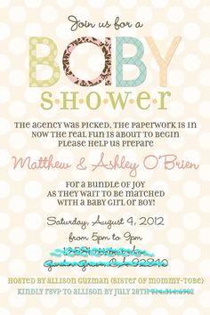Adoption Baby Shower Invite!  @Stephanie Miera, potential wording (with a few tweaks)