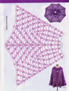 ponczo na Stylowi. crochet poncho - chart - If only I could understand this chart sigh . by Lucinda Alves Bueno Capelines, panchos et boléros 37 - crochet d'amour als Rock . Poncho Au Crochet, Pull Crochet, Bonnet Crochet, Crochet Cape, Crochet Skirts, Crochet Shawls And Wraps, Love Crochet, Crochet Scarves, Crochet Clothes