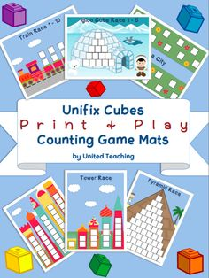 $$$6.00 - 16 pages for counting with Unifix cubes//The game mats provide children with the opportunity to explore counting to 20 and the concept of more and less. By using several dice or spinners you can also work on addition and subtraction. The mats can be used by children individually for practice, or as a game with two or more players. There are 7 Game Mats & 6 Spinners