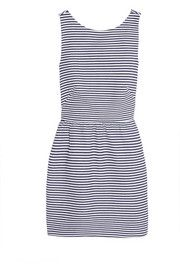 Striped cotton-blend piqué mini dress