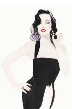 That Face! : Dita Von Teese: via Vogue.com UK): Illustrated by David Downtown http://www.daviddownton.com/