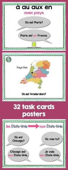 French - Prepositions with countries - à, au, aux, en - 32 Task Cards and Reference Posters - français
