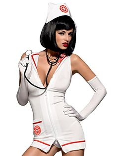 Emergency dress is a costume perfect for mischievous women with fantasies and a courage to realize them. Set consists of a dress, a thong, a nurse cap and gloves. Dress in nurse coat cut has a collar with order and a pocket with an inscription Sexy Nurse Costume, Costume Dress, Costume Blanc, Fantasy Art Women, Sexy Costumes For Women, Jolie Lingerie, Up Girl, Sensual, Sexy Dresses