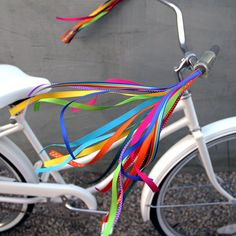 Streamers for your Bike Trike or Scooter by RetroYourRide on Etsy Streamer Party Decorations, Bike Decorations, Birthday Party Decorations, Rainbow Bike, Pimp Your Bike, Africa Burn, Bike Parade, Bike Style, Bike Art