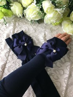 🎀紺リボン 紺アームカバー🎀 #creemaから購入 #2100円 #紫外線カット