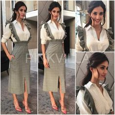 Disha Patani was in attendance at a corporate awards show held in Delhi earlier today.She worked a casual meets chic look in a textured grey skirt fe. Bollywood Dress, Bollywood Fashion, Bollywood Actors, Western Dresses, Western Outfits, Western Wear, Indian Designer Outfits, Indian Outfits, Classy Outfits