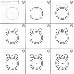 Set of clock doodles isolated on white background. Premium vectorSet of clock doodles isolated on white background. Premium vectorTime and clock symbols by Clock Drawings, Easy Doodles Drawings, Easy Doodle Art, Simple Doodles, How To Draw Doodle, Bullet Journal Ideas Pages, Bullet Journal Inspiration, Planner Inspiration, Planner Doodles