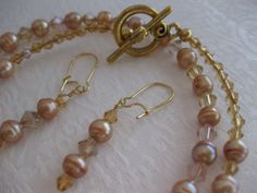 Pearl Necklace Freshwater Pearls Rose by JewelryMakerCharlene, $29.00
