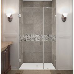 Aston Nautis 38-in x 72-in Completely Frameless Hinged Shower Door in Chrome