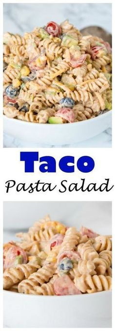Taco Pasta Salad – a creamy pasta salad with all your favorite taco toppings! Gr… Taco Pasta Salad – a creamy pasta salad with all your favorite taco toppings! Great to make ahead and have in the fridge for dinner or to take to any get together. Mexican Food Recipes, New Recipes, Favorite Recipes, Healthy Recipes, Vegetarian Recipes, Creamy Pasta Salads, Pasta Salad Recipes, Recipe Pasta, Coleslaw