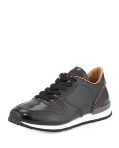 Runner Leather Sneaker, Black - Tod's