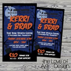 Printed Raffle Buck and Doe Tickets -Jack and Jill Tickets - Stag and Doe Tickets - Halloween1 by TheLoveOfArtNDesign on Etsy