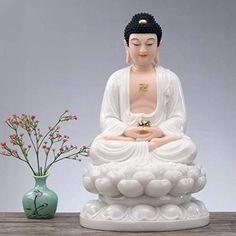 CQOZ Sakyamuni Buddha Statue Family Office Decoration Buddha Sculpture Spirit Gift Small Home Decoration Buddhism Supplies White Buddha Statue, Buddha Statue Home, Buddha Art, Gautam Buddha Image, Budha Statue, Buddha Thoughts, Spirit Gifts, Family Office, Buddha Sculpture