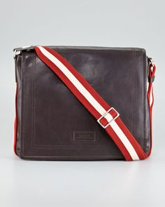 Web-Strap Leather Messenger Bag by Bally at Neiman Marcus.