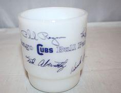 1969 CHICAGO CUBS BULL PEN Baseball Milk Glass Fire King