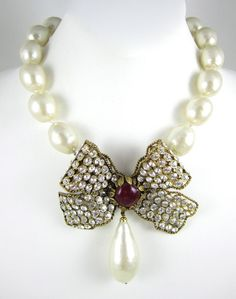 Maison Gripoix for Chanel Pearl Bow Necklace