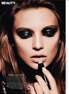 love this type of look for a night out! dark smoldering yet glossy eyes, contoured cheeks, and nude lips