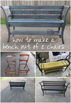 My Repurposed Life How to make a Chair Bench out of a couple of old chairs and some lumber. Diy Garden Furniture, Old Furniture, Refurbished Furniture, Repurposed Furniture, Furniture Projects, Furniture Making, Furniture Makeover, Home Projects, Furniture Decor